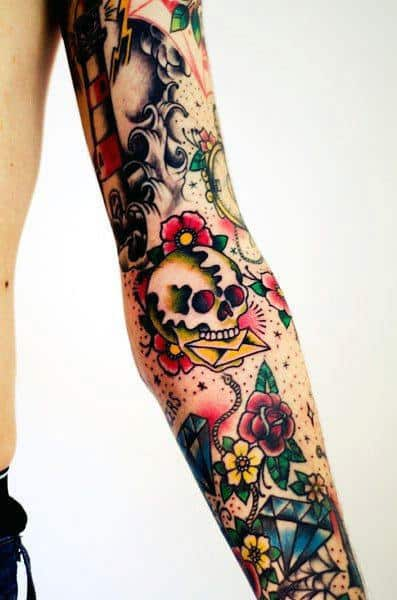 Skull With Letter Traditional Male Full Arm Sleeve Ideas