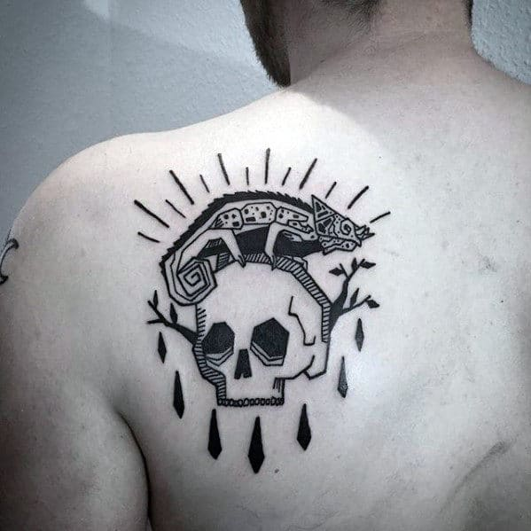 Skull With Lizard Guys Cool Back Tattoo