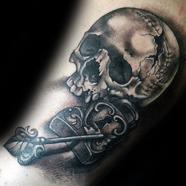 Skull With Lock Mens Arm Tattoos