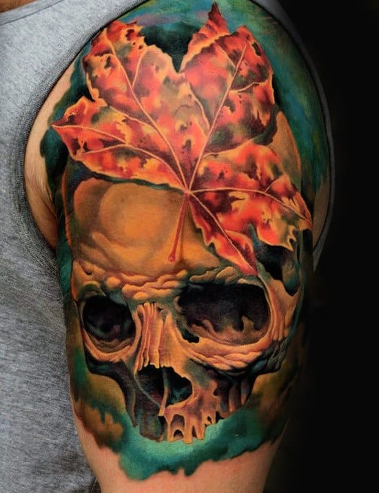 Skull With Maple Leaf Mens Watercolor Half Sleeve Tattoo
