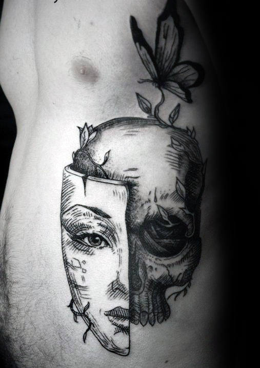 Skull With Mask Life Death Ribs Tattoos For Guys