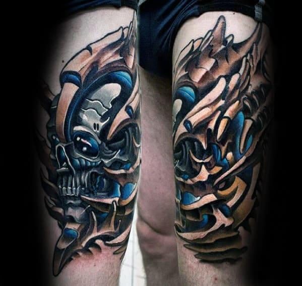 Skull With Mechanical Design Guys 3d Leg Tattoo