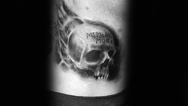 Skull With Memento Mori Male Back Tattoo Ideas