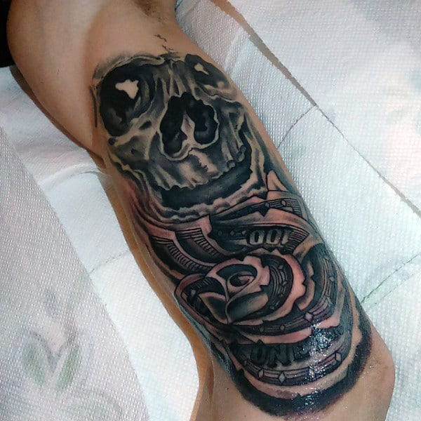 Skull With Money Rose Quarter Sleeve Guys Tattoos