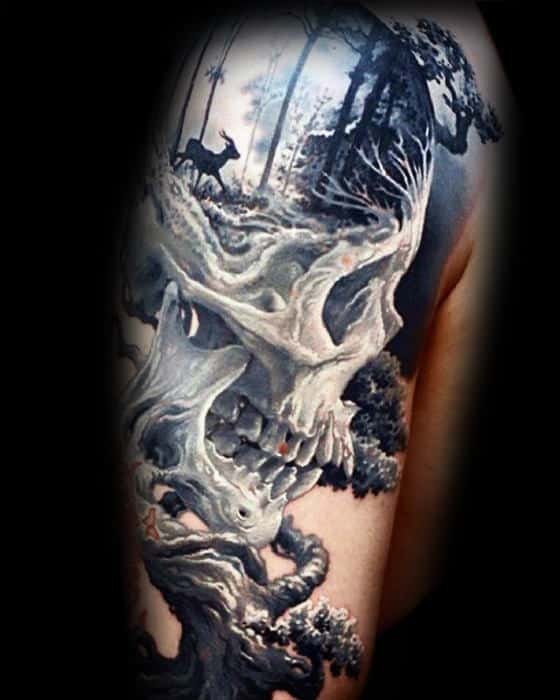Skull With Nature Landscape Guys 3d Arm Tattoo Design