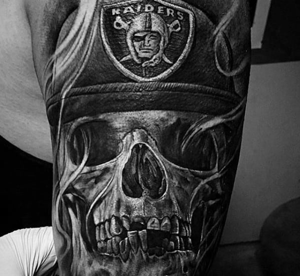 Skull With Oakland Raiders Hat Guys Sleeve Tattoos