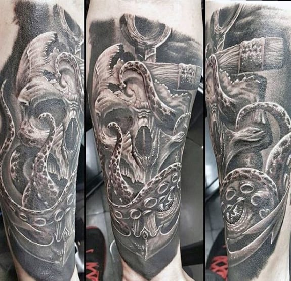 Skull With Octopus And Anchor Mens Realistic Leg Tattoo
