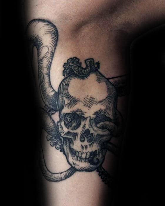 Skull With Octopus Tentacles Inner Arm Tattoos For Males