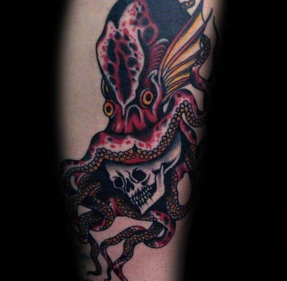Skull With Octopus Traditional Tattoos For Men