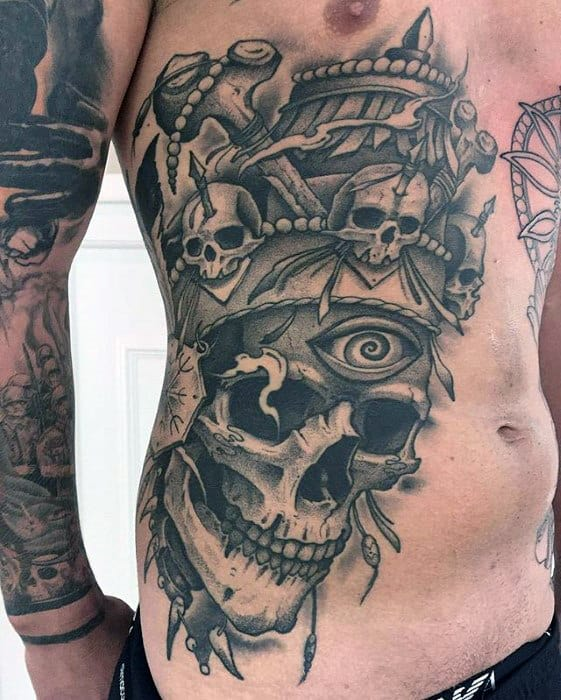 Skull With Ornate Design Guys Badass Chest Side Tattoo