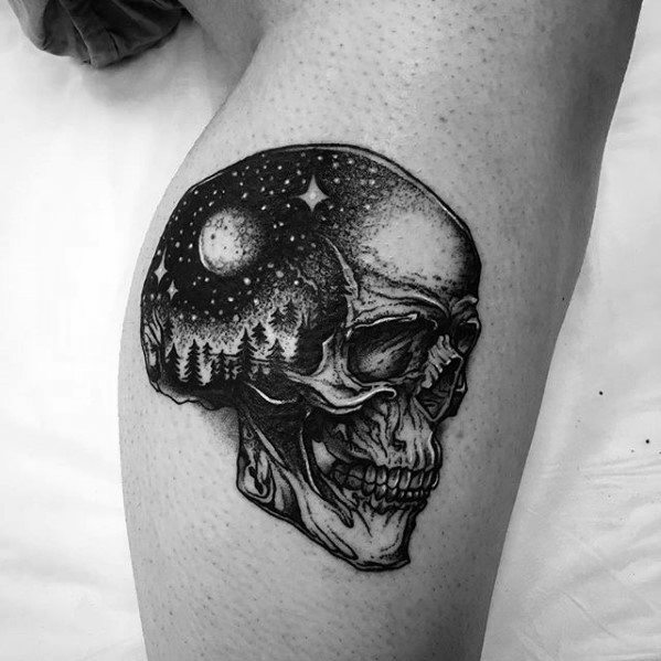 Skull With Outer Space Sky Coolest Guys Small Side Of Leg Tattoos