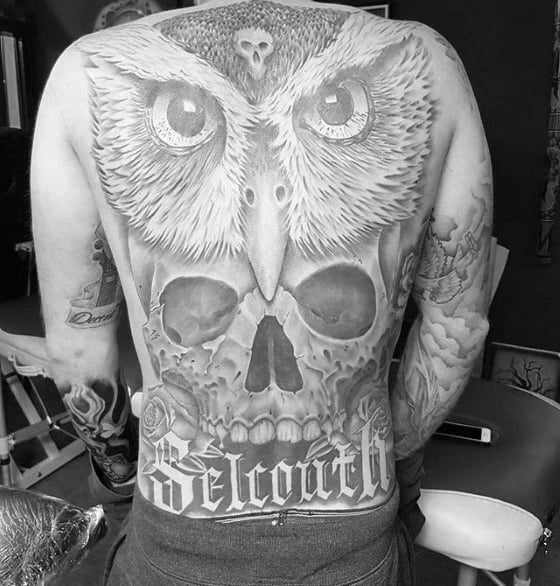 Skull With Owl 3d Male Back Tattoos