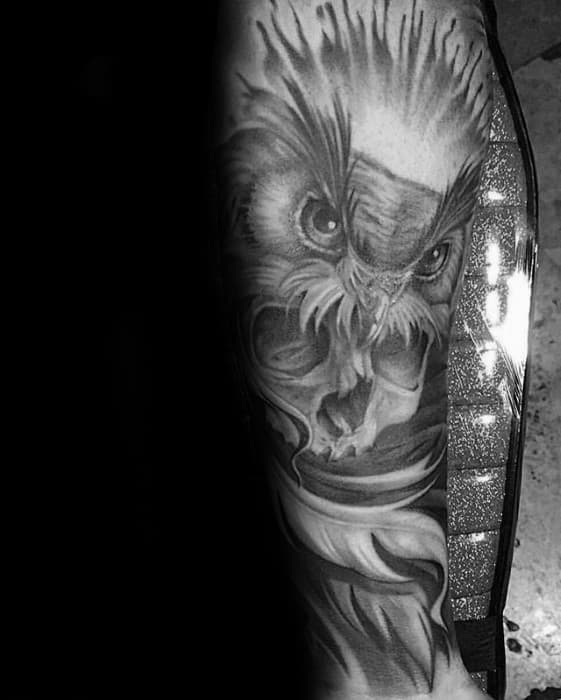 Skull With Owl Male Inner Forearm Tattoo Inspiration