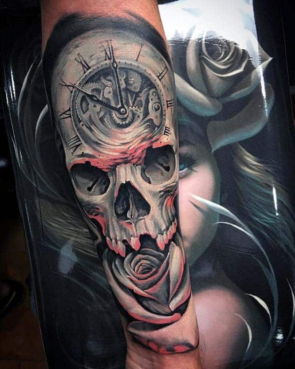 Skull With Pocket Watch And Rose Flower Extreme Guys Forearm Sleeve Tattoo