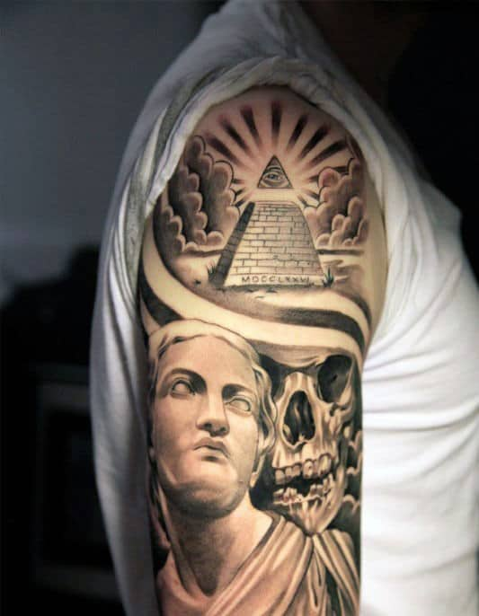 Skull With Pyramid Mens Sleeve Tattoo Ideas