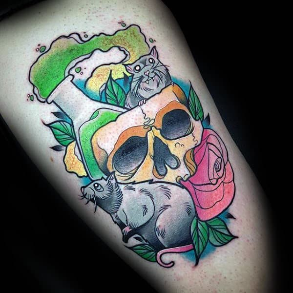 Skull With Rat Mens Thigh Tattoos