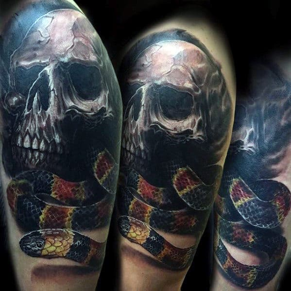 Skull With Red Black And Yellow 3d Snake Mens Arm Tattoo