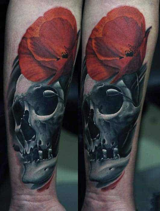 skull-with-red-poppy-mens-wrist-tattos