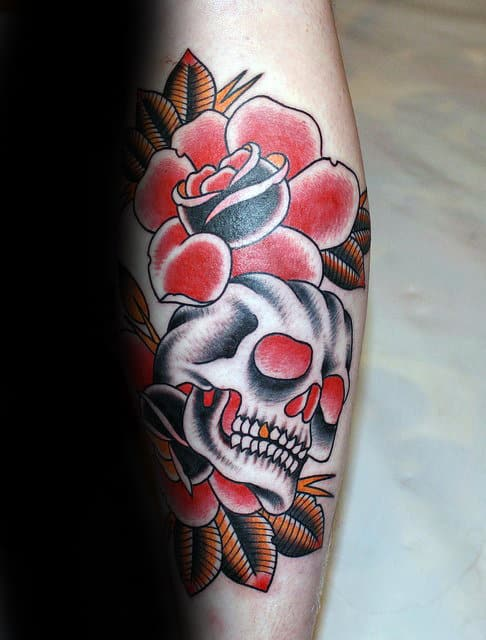 Skull With Red Roses Traditional Mens Forearm Tattoos