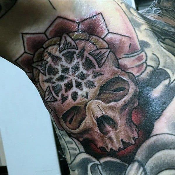 Skull With Religious Symbol Tattoo Male Armpits