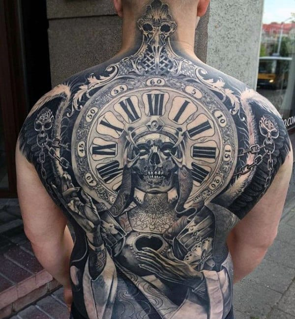 Skull With Roman Numeral Clock Mens Crazy Ornate Full Back Tattoos