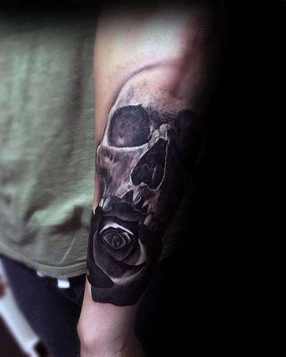 Skull With Rose Flower Unique Forearm Black And Grey Mens Tattoos