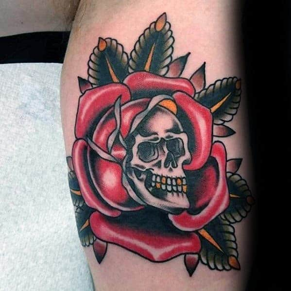 skull-with-rose-guys-traditional-flower-arm-tattoo-ideas