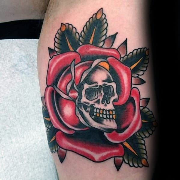 Skull With Rose Guys Traditional Flower Arm Tattoo Ideas