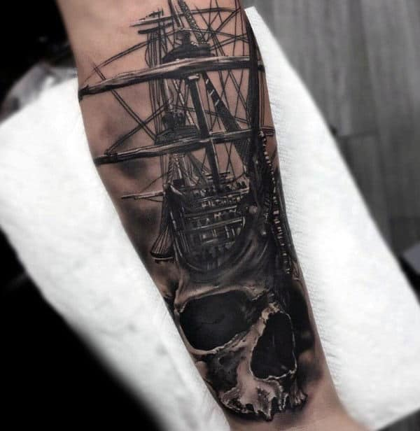 Skull With Sailing Ship Badass Forearm Tattoos For Men