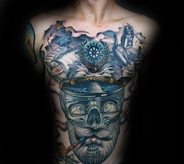 Skull With Sailor Helmet Mens 3d Chest Tattoo
