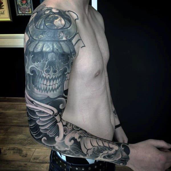 Skull With Samurai Helmet Guys Tattoo Full Sleeve Designs