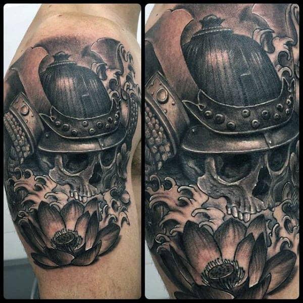 skull-with-samurai-helmet-mens-quarter-sleeve-tattoo