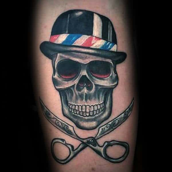 Skull With Scissor Crossbones Mens Arm Tattoos