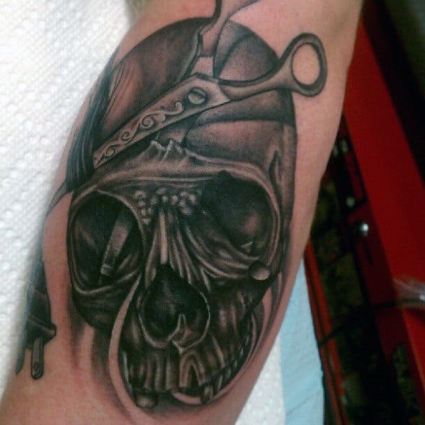 Skull With Scissors Barber Mens Tattoo On Arm