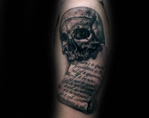 Skull With Scroll Shaded Black And Grey Ink Male Tattoo Design Ideas