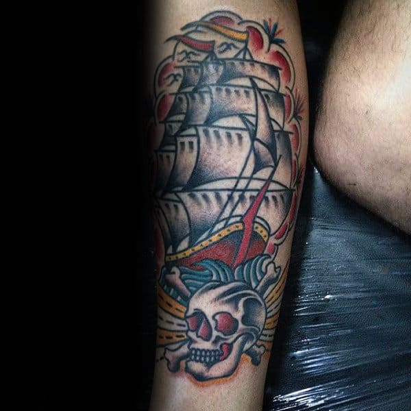 Skull With Ship Guys Traditional Leg Tattoo Design Ideas