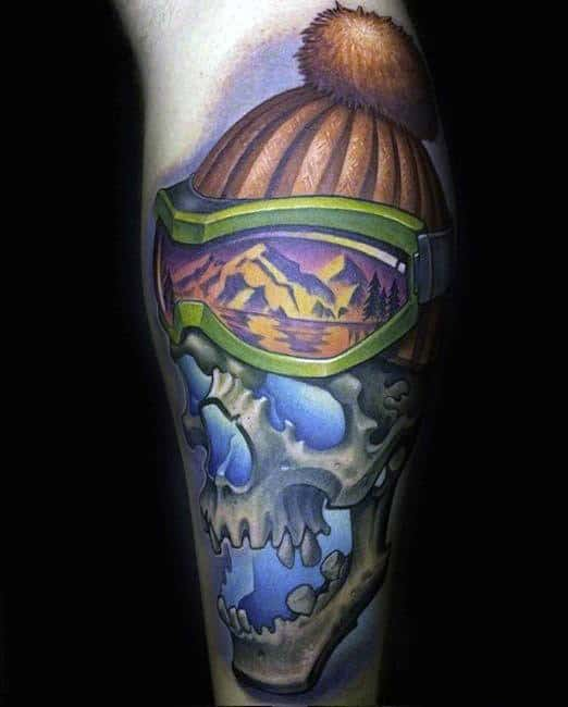 Skull With Skiing Hat And Goggles Guys Arm Tattoo
