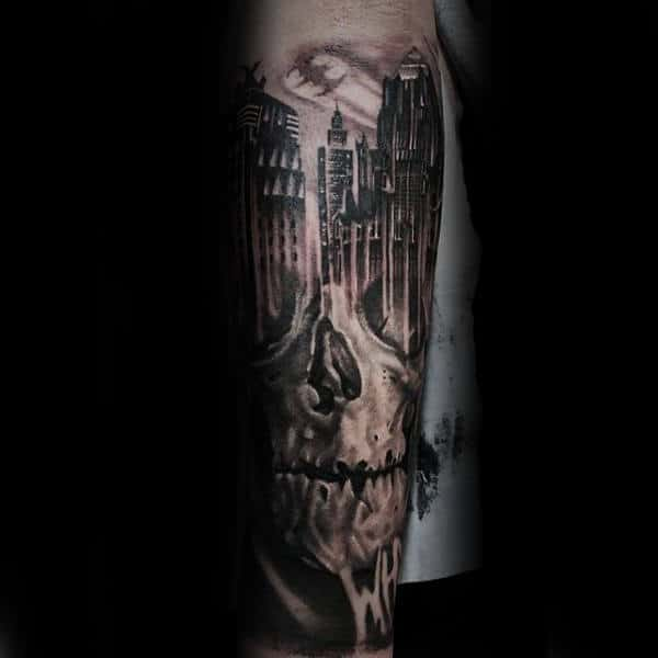 Skull With Skyline Building Forearm Sleeve Tattoo On Man