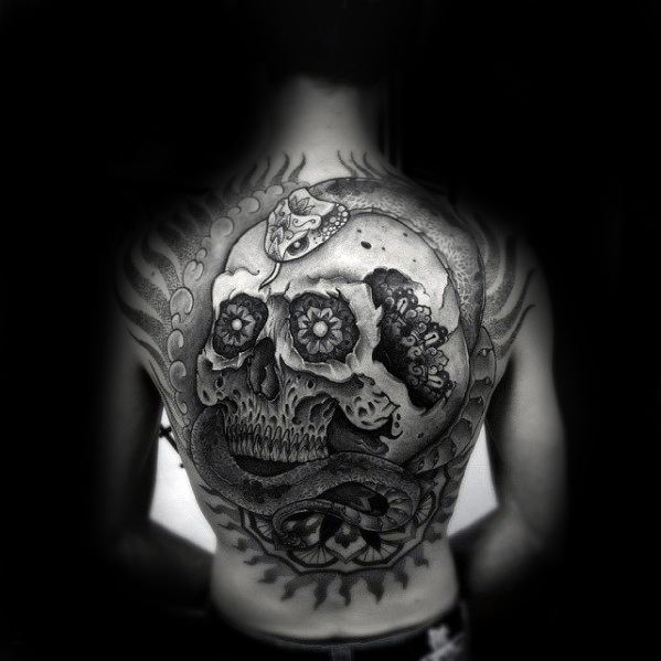 Skull With Snake Guys 3d Back Tattoo Ideas