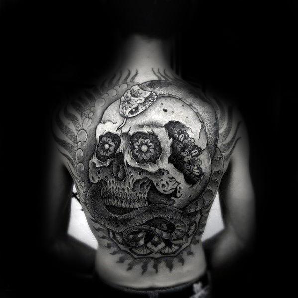 Skull With Snake Guys 3d Back Tattoo Ideas