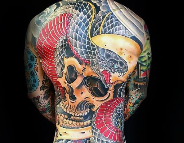 Skull With Snake Japanese Guys Back Tattoo
