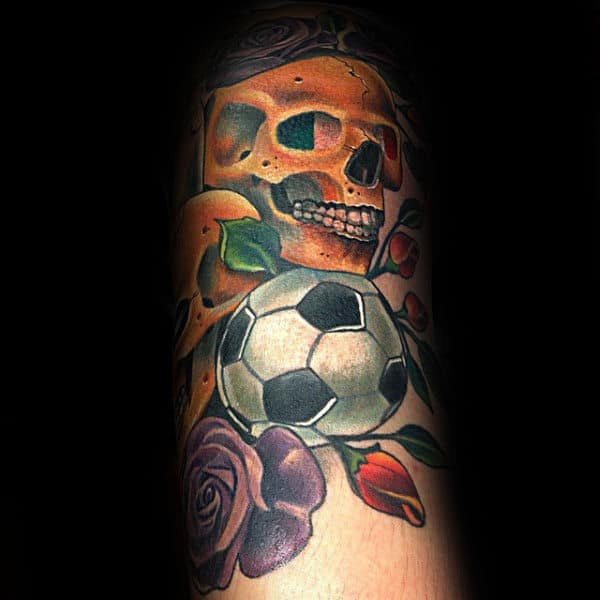 Skull With Soccerball And Roses Mens Forearm Tattoo Designs
