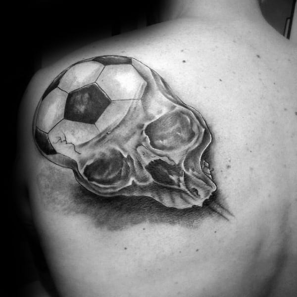 Skull With Soccerball Head Mens Shoulder Tattoos