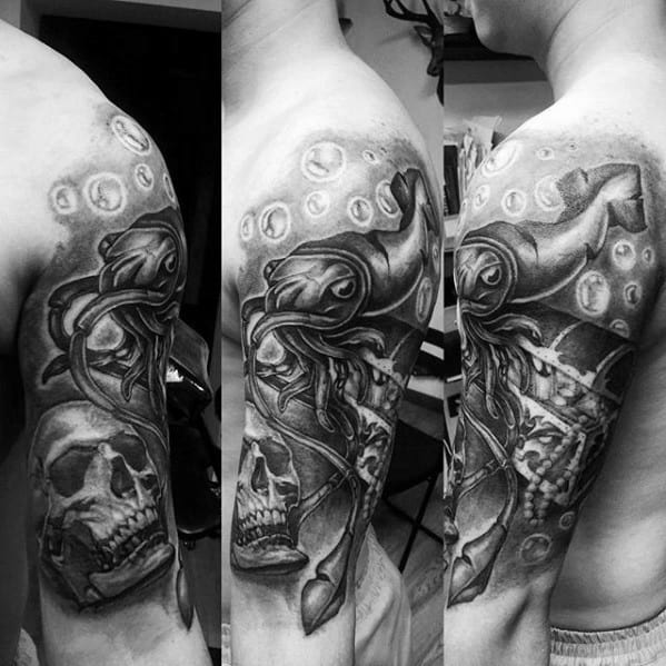 Skull With Squid And Treasure Chest Half Sleeve Shaded Ink Tattoos