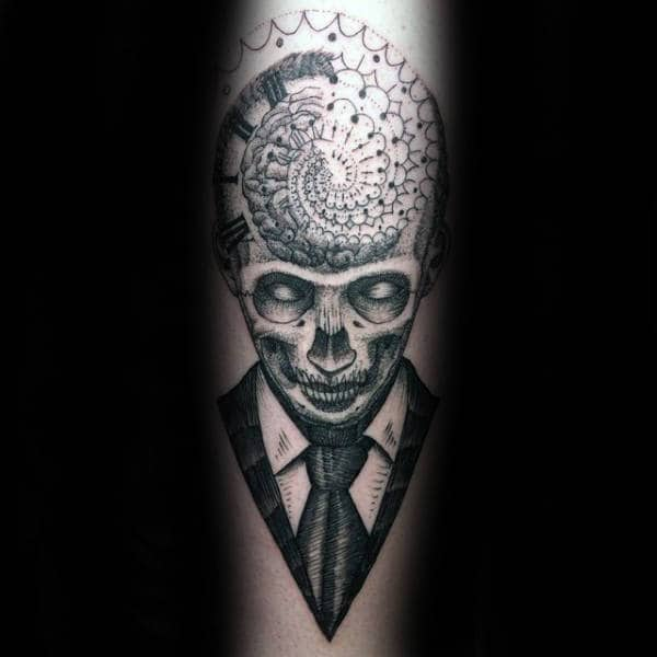 Skull With Suit Factal Brain Mens Forearm Tattoo