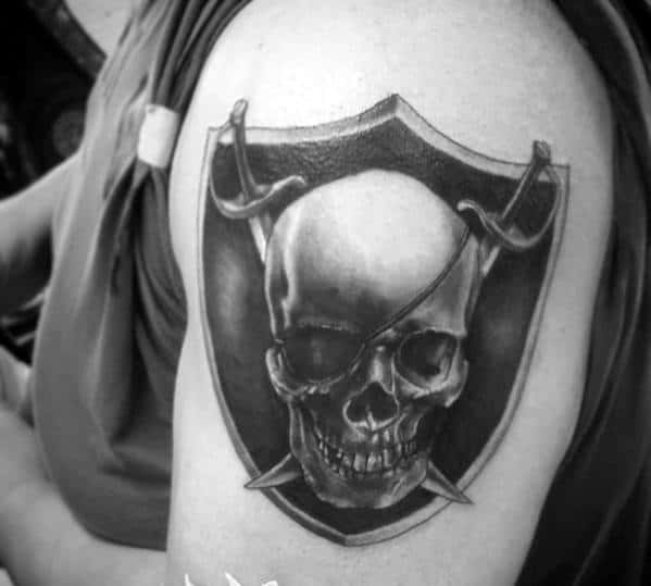 Skull With Swords Mens Oakland Raiders Arm Tattoo