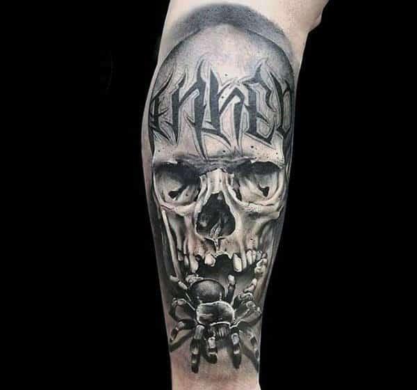 Skull With Tarantula Spider Mens Sleeve Tattoo Ideas