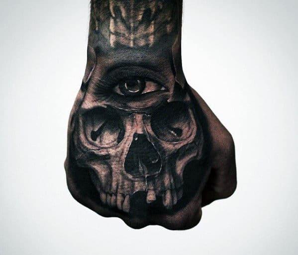 Skull With Third Eye Badass Mens Hand Tattoos