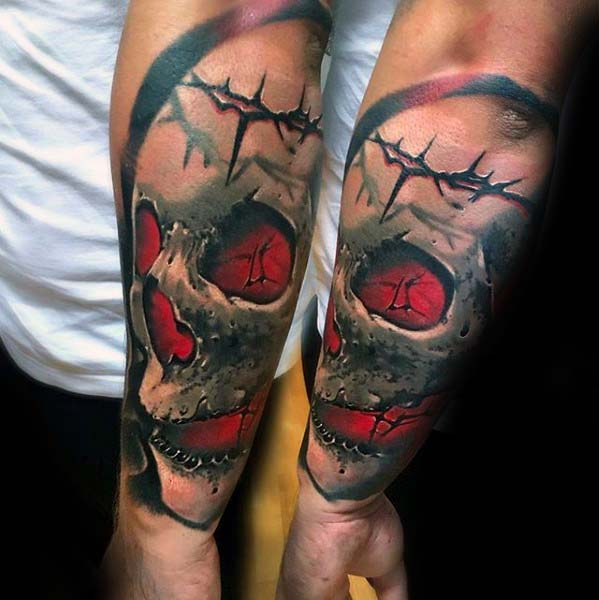 Skull With Thorns Badass 3d Male Outer Forearm Tattoo