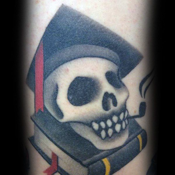 Skull With Top Hat And Book Mens Unique Small Arm Tattoos